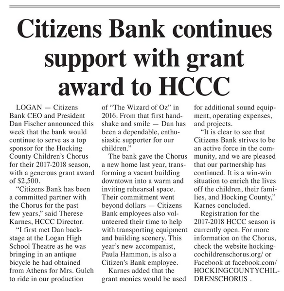 Citizens Bank Continues Support With Grant Award To HCCC