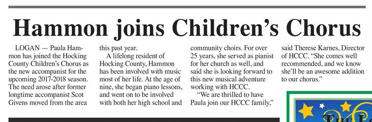 Hammon Joins Childrens Chorus